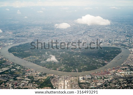 birds eye view Bangkok Thailand