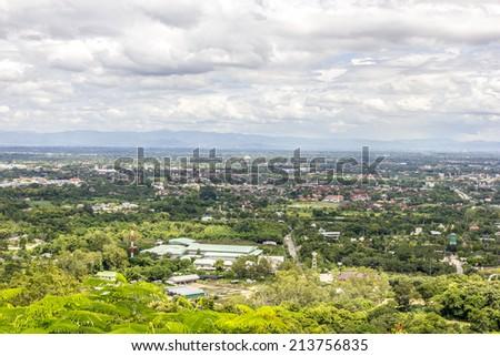 Birds eye view Chiang Mai City, Thailand - stock photo
