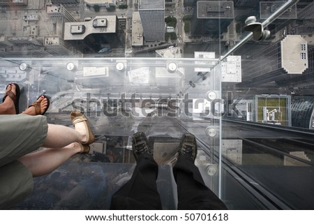 Birds eye view from the Willis Tower, formerly named Sears Tower, is a 108-story 1,451 feet (442 m) skyscraper in Chicago, Illinois. - stock photo