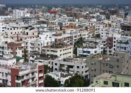 Birds eye view of Dhaka, Bangladesh - stock photo