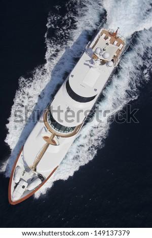 Birds eye View of Large luxury yacht - stock photo
