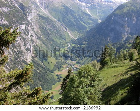 Birds Eye View of the Lauterbrunnen Valley from Murren, Switzerland