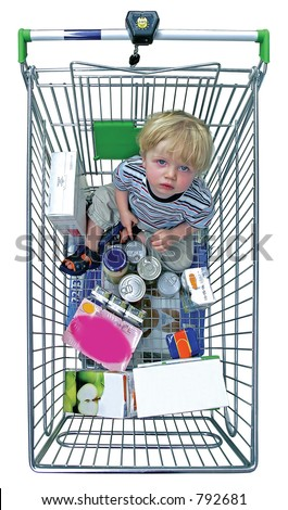 Birds eye view of young child in shopping trolley with white isolated background and surrounded by shopping