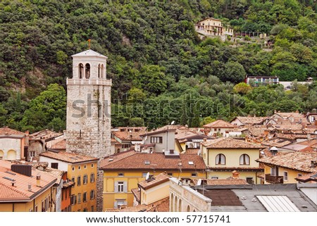 Birds-eye view over the buildings in Riva del Garda, by Lake Garda, Italy - stock photo