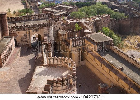Birds-eye view to Mehrangarh Fort,Jodhpur (blue city) - stock photo