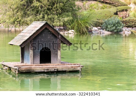 Birds house on the lake
