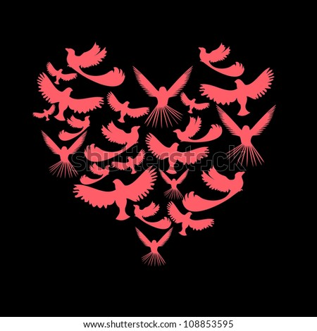 Birds in the outline of the heart