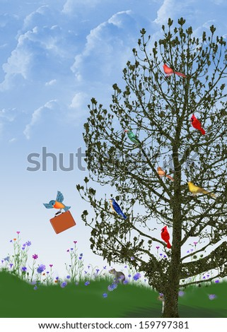 birds in tree with bluebird flying away with a suitcase - stock photo