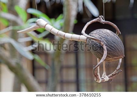 Birds made of coconut - stock photo