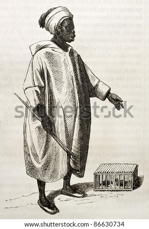Birds merchant old illustration. By unidentified author, published on Magasin Pittoresque, Paris, 1843 - stock photo
