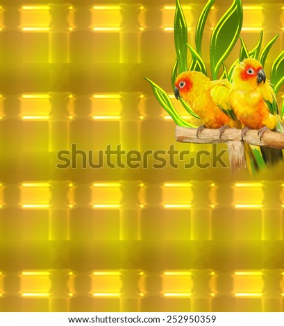 Birds on a glowing gold abstract background in unique pattern. A modern digital art backdrop or wallpaper in an original texture for use in web site work or any art and design project - stock photo
