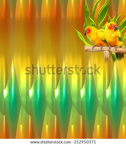Birds on a Green and yellow glowing abstract background in unique pattern. A modern digital art backdrop or wallpaper in an original texture for use in web site work or any art and design project. - stock photo