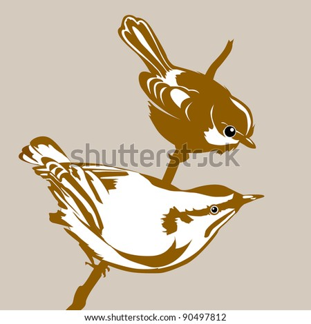 birds silhouette on brown background - stock photo