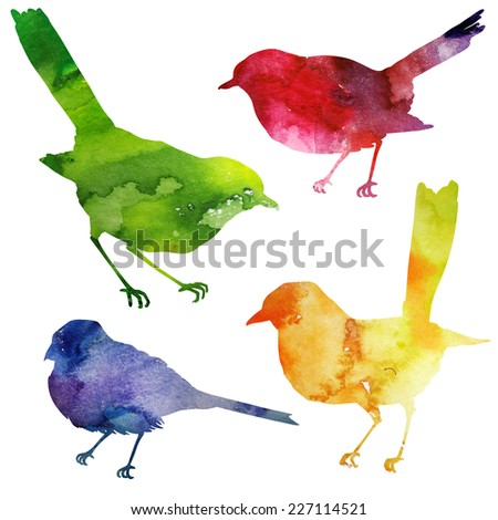 Birds Silhouette. watercolor painting. - stock photo