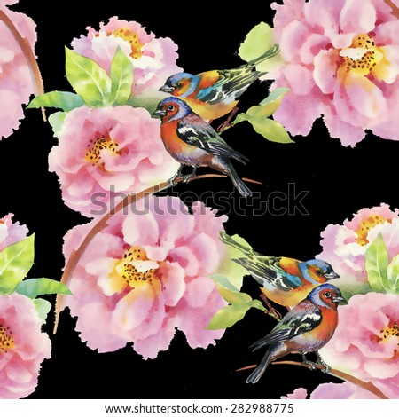 Birds with watercolor garden flowers seamless pattern on black background - stock photo