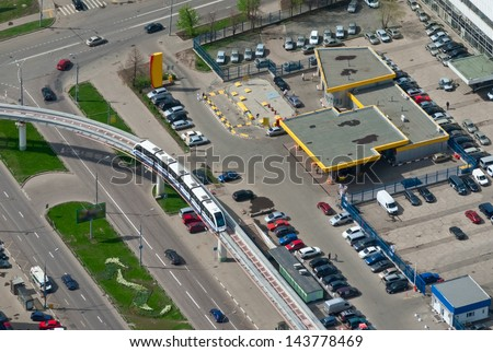 Birdseye view of a monorail train in Moscow, Russia - stock photo