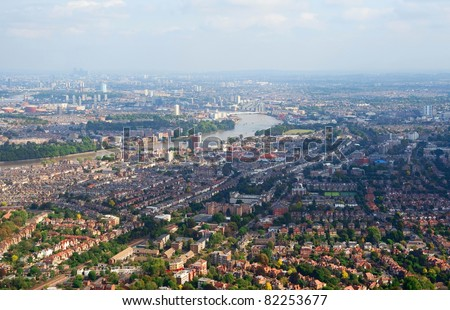 Birdseye view of London suburbs - stock photo
