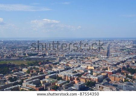 Birdseye view of the Central district of Saint Petersburg, Russia