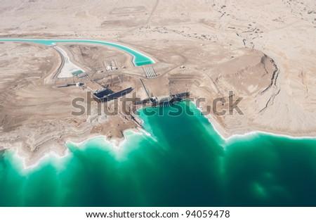 Birdseye view of the waterworks on Dead Sea, Israel - stock photo