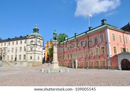 Birger Jarls' square located in Riddarholmen (part of Gamla stan) in Stockholm - stock photo