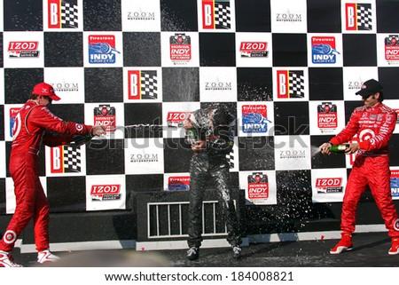 Birmingham Alabama USA - April 10, 2011: #12 Will Power, Australia Team Penske, Grand Prix of Alabama. Indycar 2014 series champion - stock photo