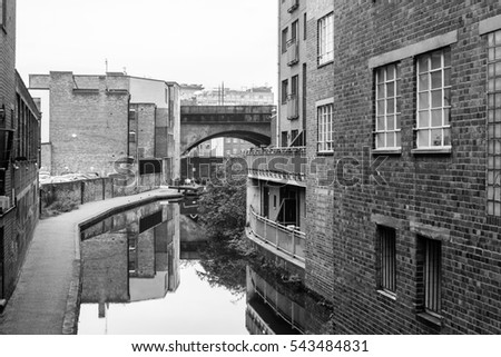 Birmingham canal old line view from ludgate hill black and white photography