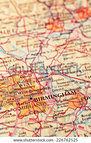 Birmingham City England, on atlas world map - stock photo