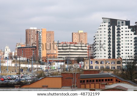Birmingham cityscape with modern residential architecture. West Midlands, England. - stock photo