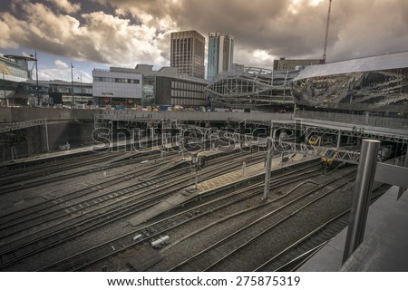 Birmingham, England, May, 3rd,2015.  New Street station is the busiest station outside London, currently under construction. - stock photo