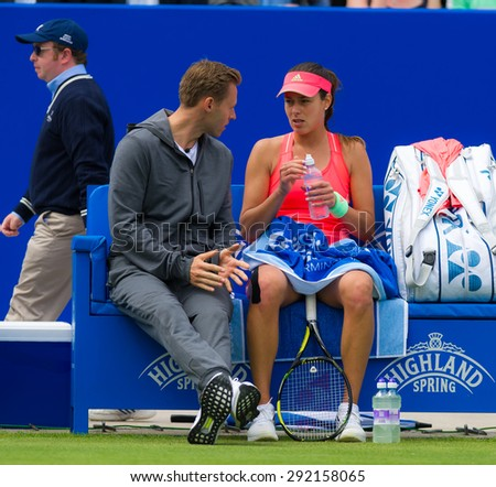 BIRMINGHAM, GREAT BRITAIN - JUNE 17 :  Ana Ivanovic during a changeover at the AEGON Classic 2015 WTA Premier tennis tournament - stock photo