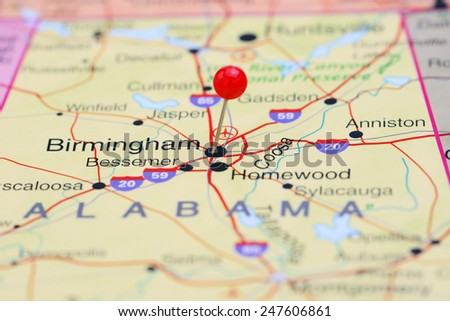 Birmingham pinned on a map of USA  - stock photo