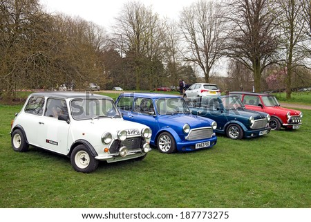 BIRMINGHAM,UK-APRIL12 2014 : Minis on display at the annual Pride of Longbridge meeting on April 12 2014 in Birmingham, UK. Any vehicle that was made at Longbridge can be displayed. - stock photo