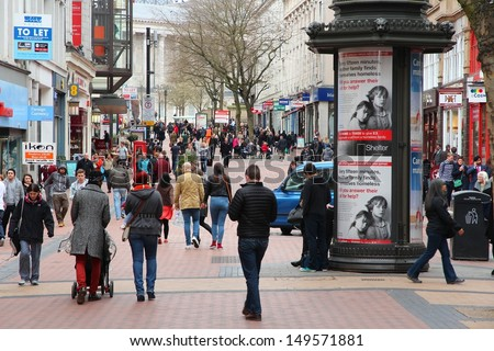 BIRMINGHAM, UK - APRIL 19: People shop downtown on April 19, 2013 in Birmingham, UK. Birmingham is the most populous British city outside London with 1.07 million residents. - stock photo