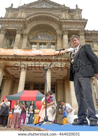 BIRMINGHAM UK - JULY 24: The cart festival called Ratha yatra in Birmingham July 24, 2016. Lord Mayor of Birmingham - Councillor Carl Rice speaks at the stage on the background of the Council House.