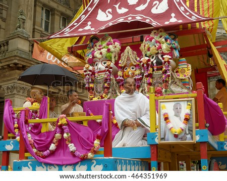 BIRMINGHAM UK - JULY 24: The cart festival 'Ratha yatra' in Birmingham July 24, 2016. The priests on the cart worship the deity on the Victoria Square.