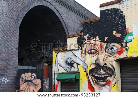 BIRMINGHAM, UK - MARCH 10: Graffiti view in Digbeth district on March 10, 2010 in Birmingham, UK. Digbeth quarter has a countrywide reputation for its vivid art scene. - stock photo