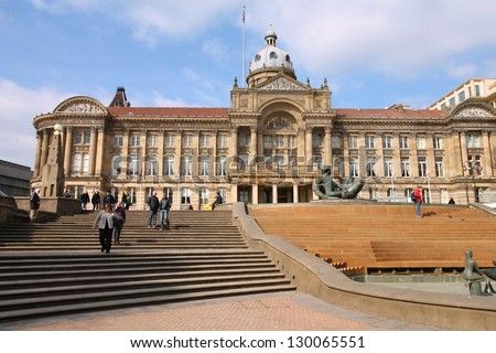 BIRMINGHAM, UK - MARCH 11: People visit famous Victoria square on March 11, 2010 in Birmingham, UK. Birmingham metropolitan area is the 2rd most populous in the UK with 3.7 million people. - stock photo