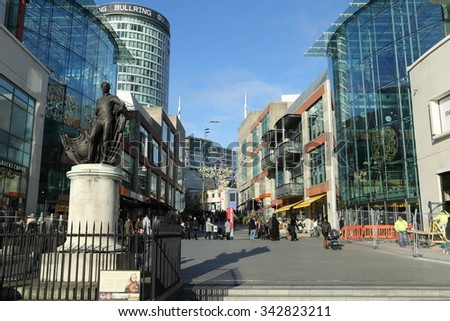 Birmingham, UK - November 21, 2015: The Bullring Centre in Birmingham has seen extensive redevelopment. - stock photo