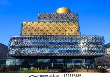 BIRMINGHAM, UNITED KINGDOM - CIRCA JANUARY 2014 - Post Modern Facade of the largest public Library in the United Kingdom