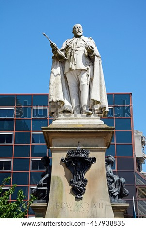 BIRMINGHAM, UNITED KINGDOM - JUNE 6, 2016 - Statue of Edward VII in Centenary Square, Birmingham, England, UK, Western Europe June 6, 2016.