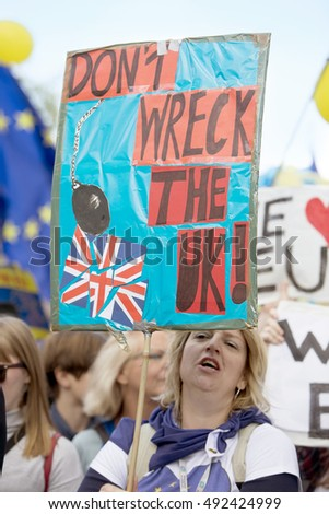 Birmingham, United Kingdom - October 2, 2016: Pro European Union Rally in Birmingham. A crowd of people gathered in Birmingham and under the eye of the police, protested the idea of Brexit.