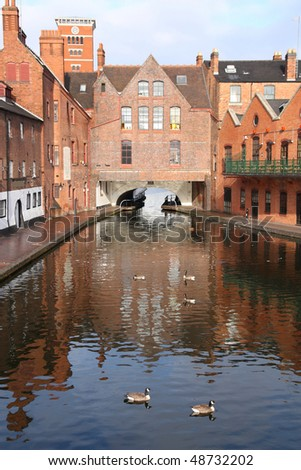 Birmingham water canal network - famous Gas Street Basin with wild geese. West Midlands, England. - stock photo