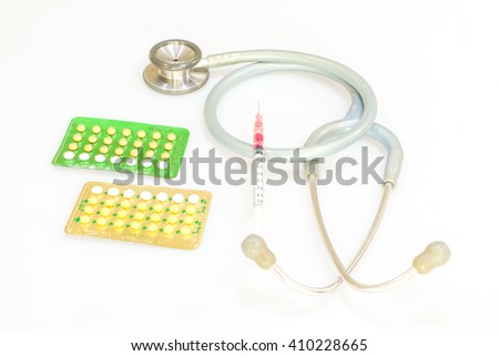Birth control pill, Injection Medication and Injection devices - stock photo