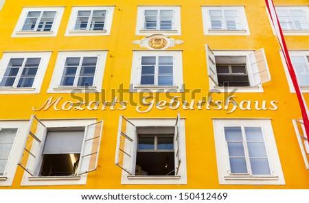 Birth house of Wolfgang Amadeus Mozart in Salzburg, Austria - stock photo