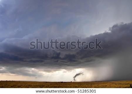 Birth of a tornado - stock photo