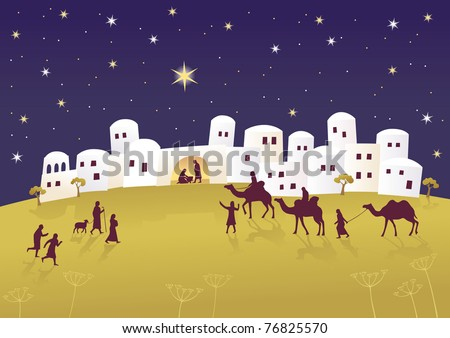 Birth of Jesus in Bethlehem Raster image. - stock photo
