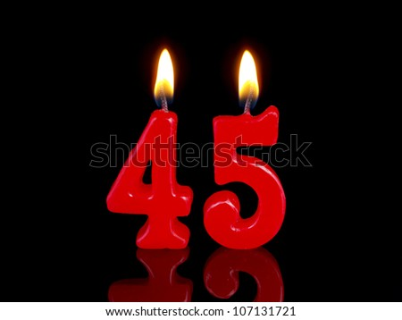 Birthday-anniversary candles showing Nr. 45 - stock photo