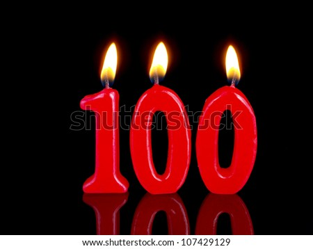 Birthday-anniversary candles showing Nr. 100 - stock photo