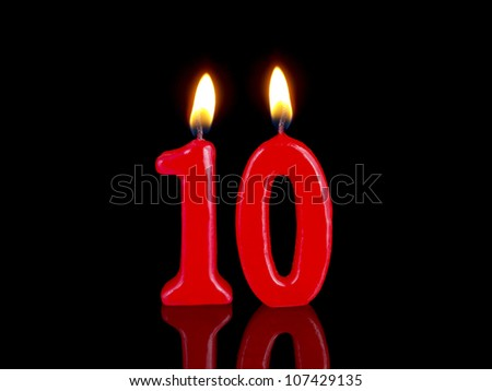 Birthday-anniversary candles showing Nr. 10 - stock photo
