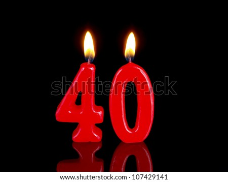 Birthday-anniversary candles showing Nr. 40 - stock photo